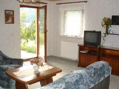 Fewo 1 Wohnzimmer mit Terrasse